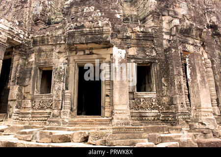 Building of the ancient Angkor Thom Bayon Temple in the Angkor Area, near Siem Reap, Cambodia, Asia. Buddhist monastery from the 12th century. - Stock Photo