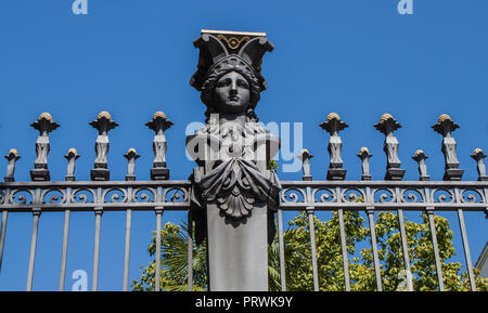 Detail of the beautiful fence of the Ministry of Agriculture (Ministerio de Agricultura) in Madrid, Spain, Europe. - Stock Photo