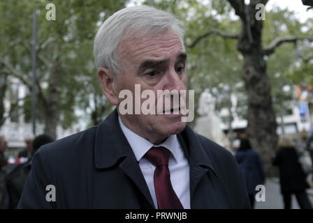 London, Greater London, UK. 5th Oct, 2018. John McDonnell, Labor Member of Parliament seen during the demonstration.Wetherspoons, TGI Fridays, and McDonald's workers rally together in London to demand better working conditions and a fair pay in the hospitality industry. Credit: Andres Pantoja/SOPA Images/ZUMA Wire/Alamy Live News - Stock Photo