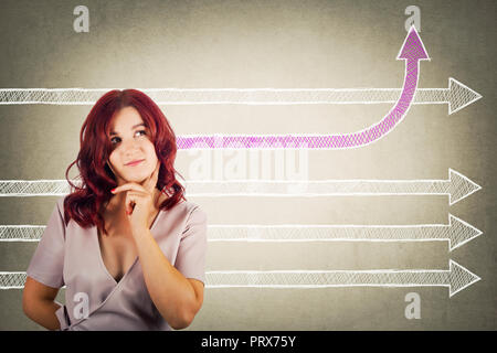 Young redhead pensive woman holding hand under chin thoughtful looking at arrows one going from head change direction bending up. Success thinking con - Stock Photo