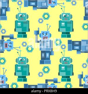 Colorful cartoon robots white background seamless pattern - Stock Photo