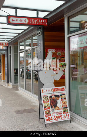 Peaceful Restaurant, a Chinese Szechuan restaurant in Vancouver, BC, Canada - Stock Photo