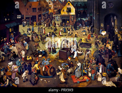 Fight between Carnival and Lent 1559 by Pieter Bruegel (also Brueghel) the Elder ( 1525-1530 –1569) was the most significant artist of Dutch and Flemish Renaissance painter, Belgium, Belgian, Dutch, The, Netherlands. - Stock Photo