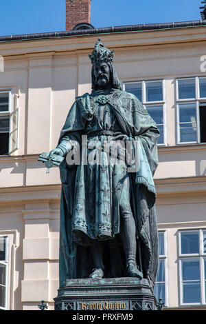 Karolo Quarto (Charles IV), King of Bohemia and Holy Roman Emperor in Knights of the Cross Square, Prague - Stock Photo