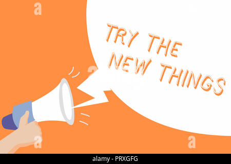 Handwriting text Try The New Things. Concept meaning Breaks up Life Routine Learn some Innovative Skills. - Stock Photo