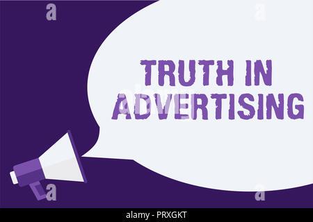 Handwriting text Truth In Advertising. Concept meaning Practice Honest Advertisement Publicity Propaganda Megaphone loudspeaker speech bubbles importa - Stock Photo