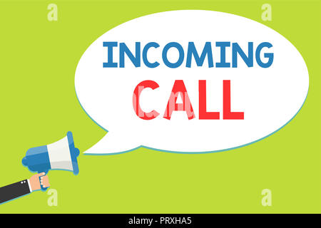 Word writing text Incoming Call. Business concept for Inbound Received Caller ID Telephone Voicemail Vidcall Man holding megaphone loudspeaker speech  - Stock Photo