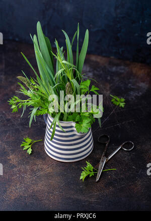Fresh green herbs in a stripped ceramic jug - Stock Photo