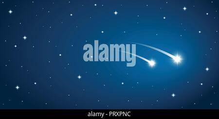 two falling stars in the starry sky vector illustration EPS10 - Stock Photo