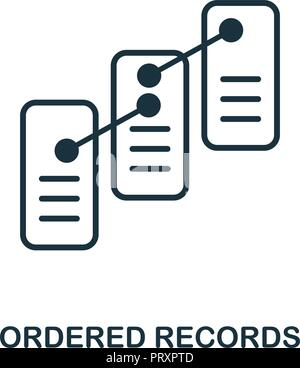Ordered Records icon. Monochrome style design from blockchain collection. UX and UI. Pixel perfect ordered records icon. For web design, apps, softwar - Stock Photo