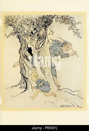 vintage fantasy childrens book illustration art - Stock Photo