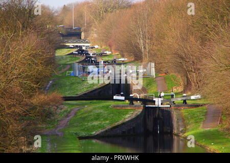 A rare view of Perry Barr Locks on the Tame Valley Canal which can only be seen from the M6 Motorway. - Stock Photo