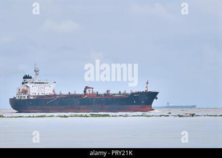 COATZACOALCOS, VER/MEXICO - SEPT 28, 2018: 'Tampico' oil and chemical tanker ship enters the river to the Pajaritos logistics terminal - Stock Photo