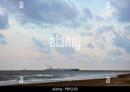COATZACOALCOS, VER/MEXICO - OCT 2, 2018: 'Albert' LPG gas carrier tanker ship enters the Coatzacoalcos river, to the Pajaritos logisitics terminal. - Stock Photo