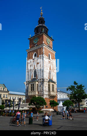 Krakow, Poland - August 23, 2018: The Town Hall Tower in the main square of Krakow, Poland. - Stock Photo
