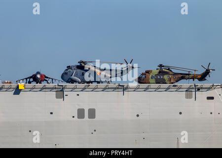 Spanish Navy aircraft carrier 'Juan Carlos I' moored in south port of Huelva - Stock Photo