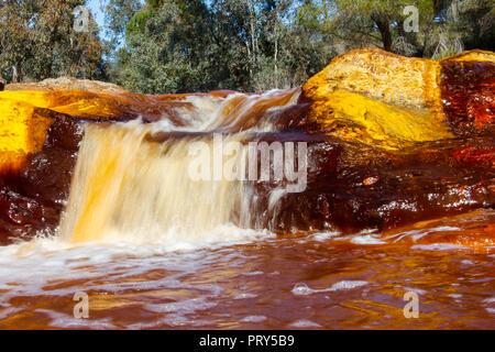 Red river waterfall, 'Rio Tinto' - Stock Photo