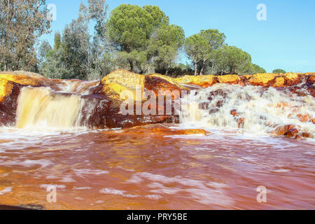 Red river waterfall, 'Rio Tinto' - Stock Photo