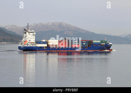 MS Kristin Schepers, a container vessel operated by HS Schiffahrt, passing Gourock on the Firth of Clyde. - Stock Photo