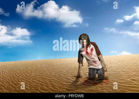 Dirty zombie man with bloody mouth on desert - Stock Photo