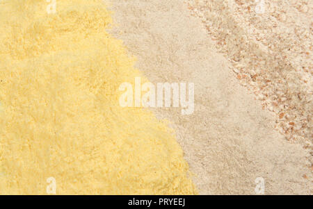 different types of flour, corn, buckwheat and whole wheat - Stock Photo