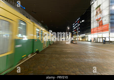 HELSINKI, FINLAND-December 14, 2016: Winter evening view with Christmas lighting and at the market area in Helsinki. - Stock Photo