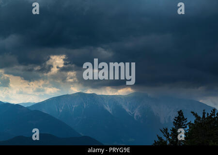 Schneeberg before thunderstorm and hail - Stock Photo