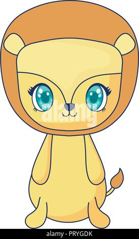 cute lion adorable character vector illustration design - Stock Photo