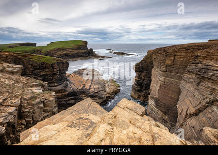 Cliffs of Yesnaby, Sandwick, Mainland, Orkney Islands, Scotland, Great Britain - Stock Photo
