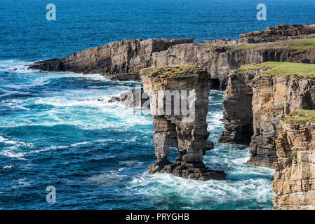 The 35m high surf pillar, called Yesnaby Castle, Sandwick, Mainland, Orkney Islands, Scotland, Great Britain - Stock Photo