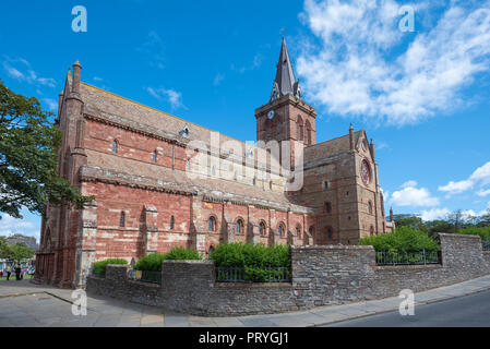 Romanesque-Norman Cathedral St. Magnus, 12th century, Kirkwall, Mainland, Orkney Islands, Scotland, Great Britain - Stock Photo