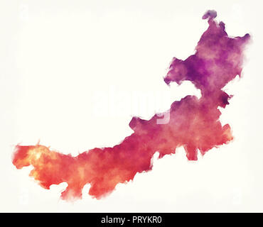 Neimenggu Inner Mongolia province watercolor map of China in front of a white background - Stock Photo