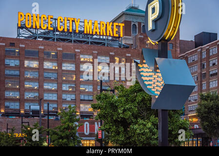 Ponce City Market, a mixed-use redevelopment complex in Atlanta, is a popular destination for shopping, dining, amusements, and music entertainment. - Stock Photo