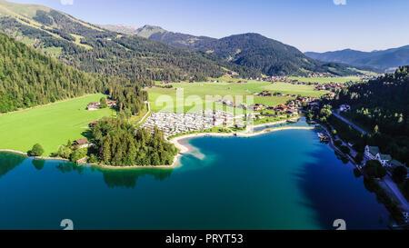 Austria, Tyrol, Scholastika and Caravan Park, Lake Achensee, View to Seekarspitze - Stock Photo