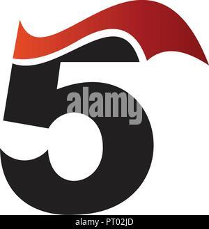 Figure 5 logo design concept template - Stock Photo