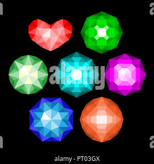 Gems isolated on white background. jewels or precious diamonds gem set. - Stock Photo