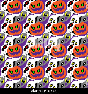 Halloween symbol design element decoration into seamless pattern for wallpaper. - Stock Photo