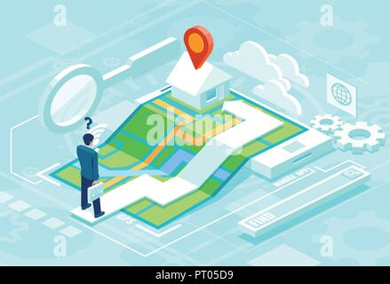Online navigation concept in isometric vector. Businessman using smartphone application map to find his destinaton - Stock Photo