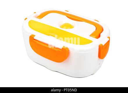 Orange plastic lunch box isolated on white background - Stock Photo