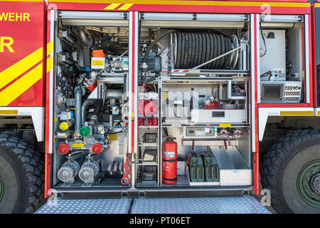 WUNSTORF, GERMANY - JUNE 9, 2018: Fire truck on display at the Tag der Bundeswehr. - Stock Photo