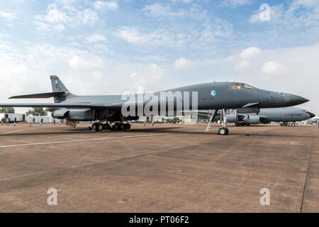 FAIRFORD, UK - JUL 13, 2018: US Air Force Rockwell B-1 Lancer bomber plane on the tarmac of RAF Fairford airbase. - Stock Photo
