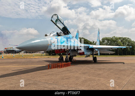 FAIRFORD, UK - JUL 13, 2018: Ukrainian Air Force Sukhoi Su-27 fighter jet on the tarmac of RAF Fairford airbase - Stock Photo
