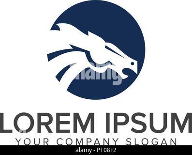 horse head logo design concept template - Stock Photo