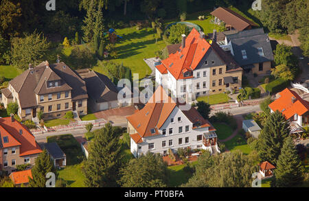 Aerial view, semi-detached houses, residential property, Waltrop, Ruhr Area, North Rhine-Westphalia, Germany, Europe, - Stock Photo