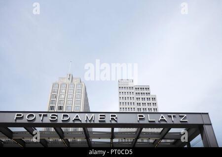 Entrance underground station and Beisheim Center at Potsdamer Platz, Berlin, Germany, Europe - Stock Photo
