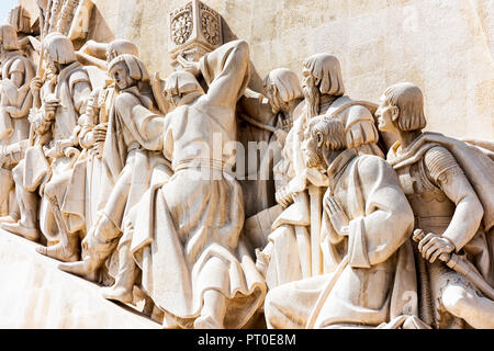 Padrão dos Descobrimentos (Monument of the discoveries) on the banks of the river Tagus in Lisbon - Stock Photo