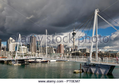 Auckland New Zealand. The skyline from Viaduct Harbour - Stock Photo