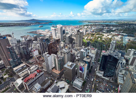 Panorama aerial view of Auckland New Zealand - Stock Photo