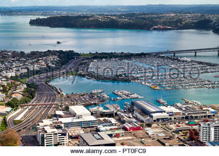 Aerial view of Auckland New Zealand - Stock Photo