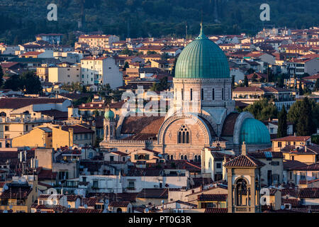 The Great Synagogue, the main Jewish synagogue in Florence, Italy. View from Piazzale Michelangelo. - Stock Photo